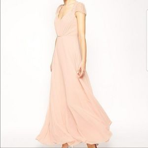 NWT ASOS Kate Blush Maxi Dress with Lace Shoulder